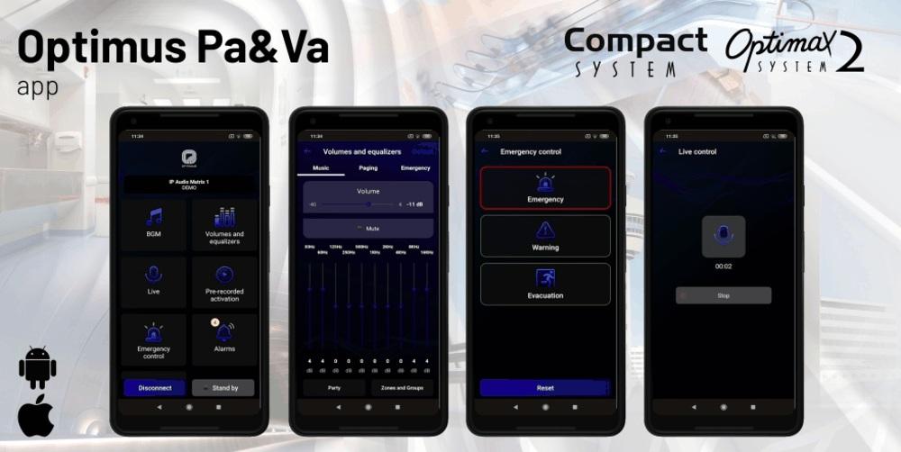 APP para los sistemas de megafonía y alarma por voz COMPACT y OPTIMAX2