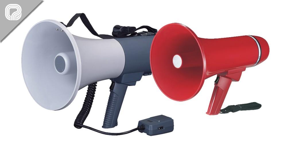 Megáfonos de mano con señal de silbato y sirena para uso general
