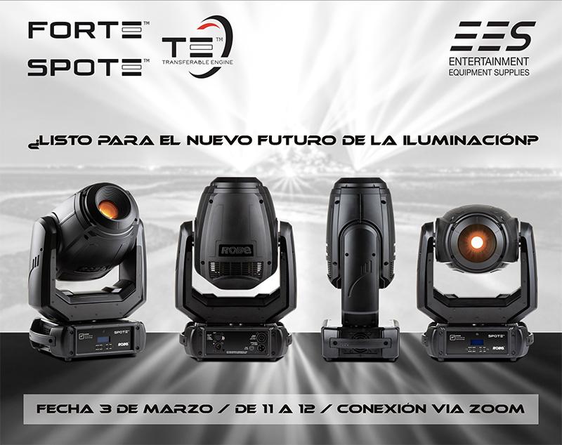 cabezas móviles de Iluminación profesional FORTE Y SPOTE de ROBE