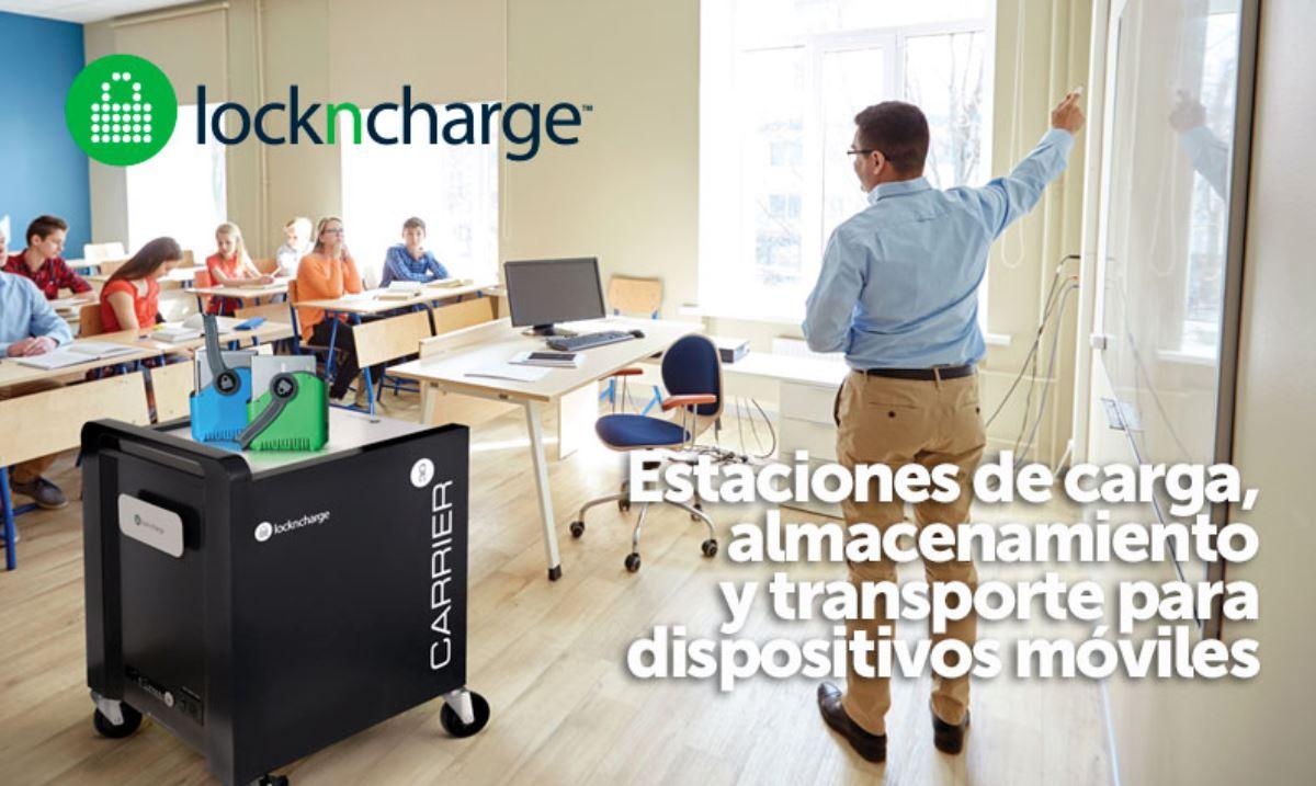 sistemas de carga almacenamiento y transporte para entornos educativos y grandes centros de trabajo de Lockncharge