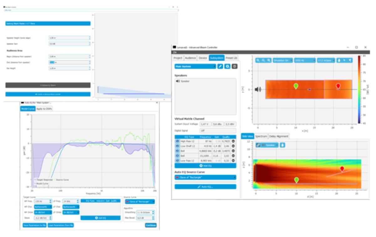 instalaciones de sonido serie iBeam y el software Easy iBeam® Controller